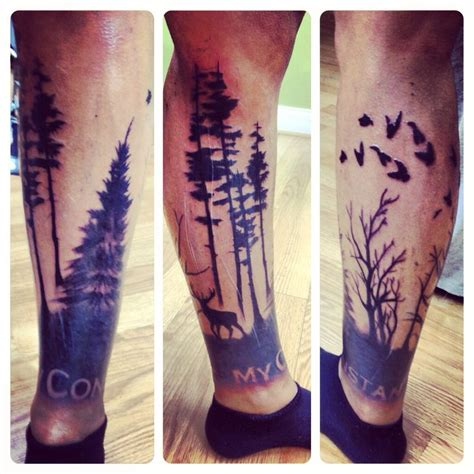 tattoos for men calf tattoos calf sleeve tree my constant my style