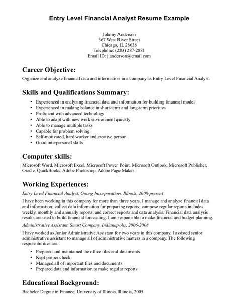 Sample Finance Resume Entry Level – Entry Level Financial Analyst Resume   berathen.Com