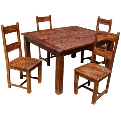 rustic solid wood appalachian dining room table chair set