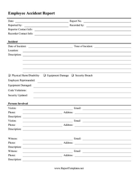 Employee Accident Report Report Template Employee Report Template