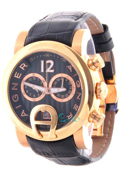 s aigner bari gold black leather