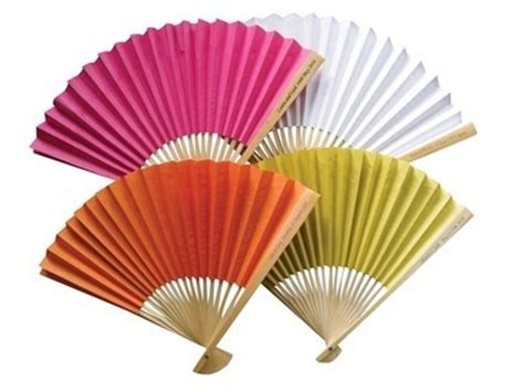 Paper Fan - plain coloured paper fans personalised handle
