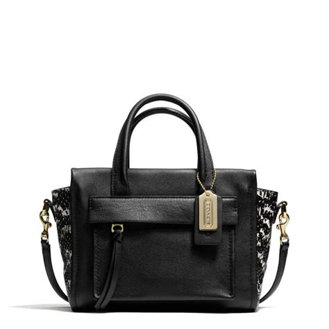 Coach Sulvian Emboss Black lyst coach bleecker mini carryall in two tone python embossed leather in black