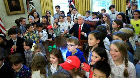 Trump Hosts White House Reporters Kids For Oval Office | trump hosts white house reporters kids for oval office