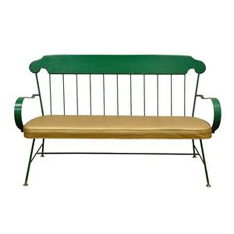 wrought iron loveseat bench vintage mid century modern whimsical green wrought iron