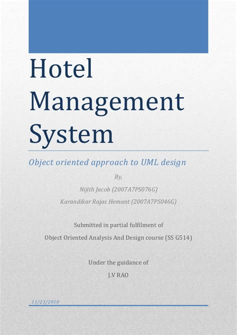 design hotel management system hotel management system
