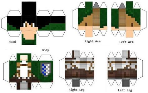 Minecraft Papercraft Toys - papermau attack on titan eren yeager paper in