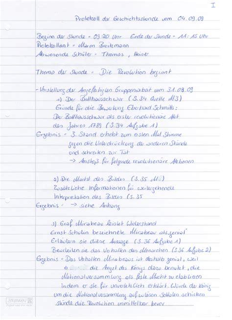 Comment Schreiben Muster Protokoll Der Geschichtsstunde Vom 04 09 2009 Geschichtskurs