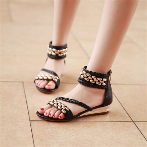 string sandals wedge rome ethnic string bead zip solid colors leather