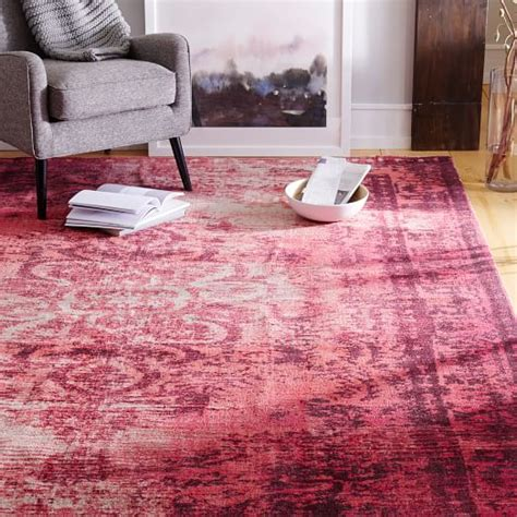 distressed arabesque wool rug shockwave west elm - Distressed Arabesque Wool Rug Shockwave