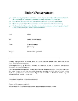 Finder Fee Agreement Sle Fill Online Printable Fillable Blank Pdffiller Finders Fee Referral Agreement Template