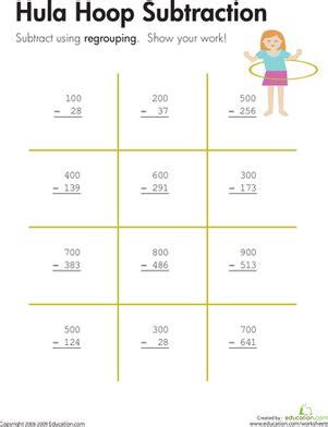 Three Digit Subtraction With Regrouping Worksheets by Hula Hoop Three Digit Subtraction With Regrouping