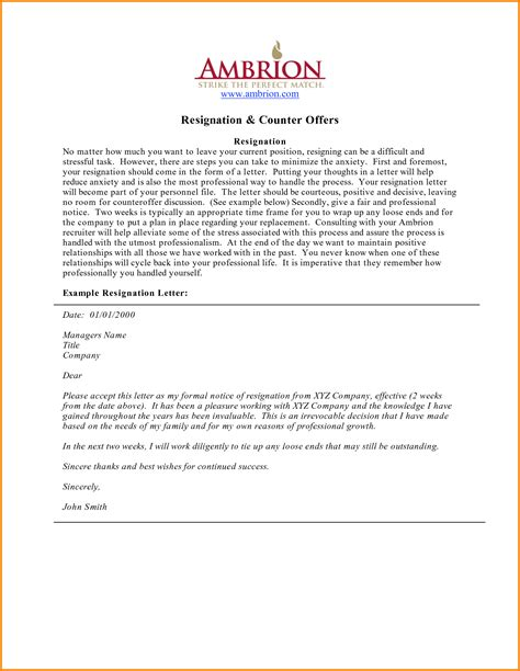 example resignation letter letter format business