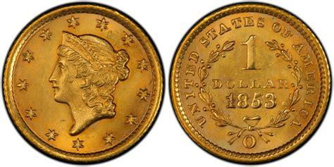 gold dollar 1853 o g 1 regular strike pcgs coinfacts