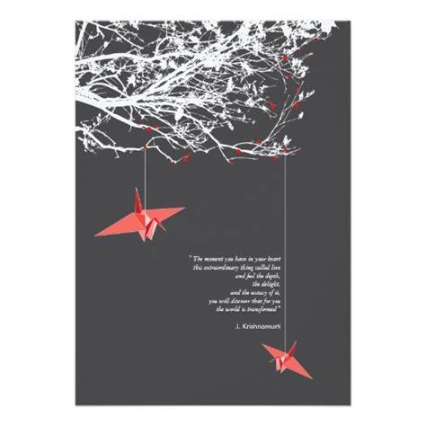 wedding invitations origami crane quote origami paper cranes wedding invitation