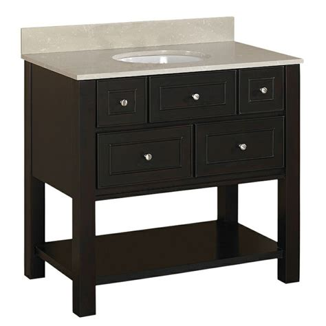 Lowes 36 Bathroom Vanity Shop Allen Roth Hagen 36 In X 21 In Espresso Single Sink Bathroom Vanity With Vitreous China