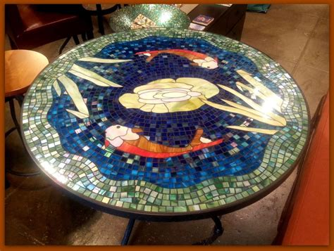 Design For Mosaic Patio Table Ideas Noveau Themed Mosaic Tabletop Ideas With Adorable Color Stained Glass Homes Showcase