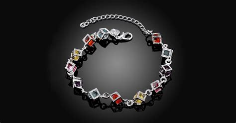 Sterling Silver Rainbow Crystal Cubed Bracelet