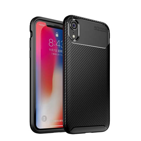 bakeey protective for iphone xr slim carbon fiber fingerprint resistant soft tpu back cover