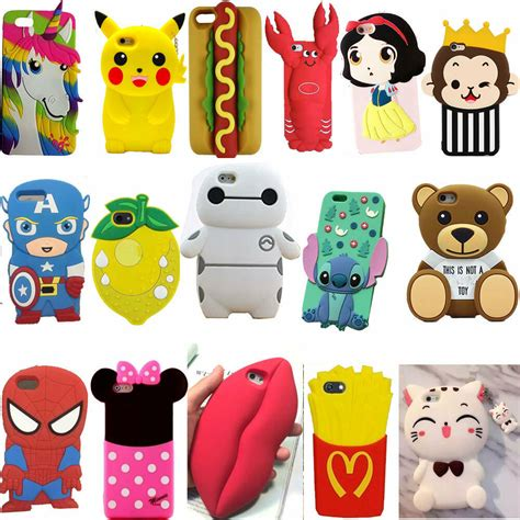 for iphone 7 plus 6 5g 5s animals 3d soft silicone back rubber ebay