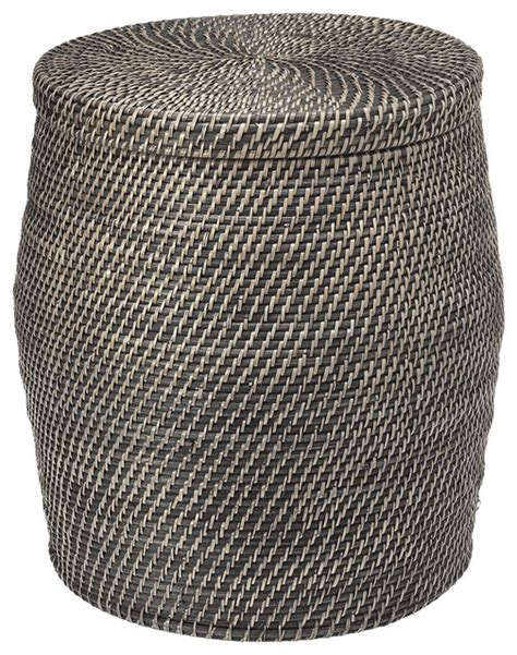 round wicker storage ottoman round rattan storage stool black wash beach style