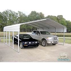 Portable 2 Car Carport Rhino Shelter 2 Car Steel Carport 22 Wx24 Lx12 H