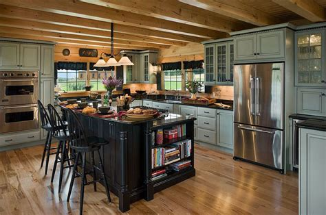 log cabin kitchen black cabinets rustic kitchens design ideas tips inspiration glass