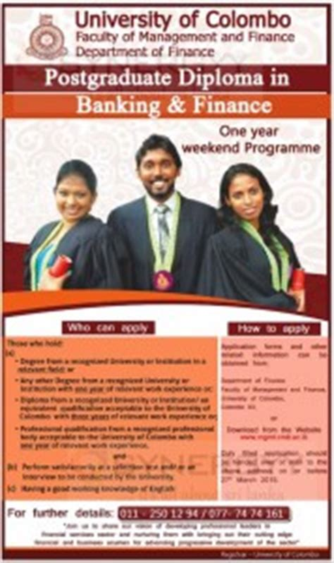 Of Colombo Mba Programme by Of Colombo Postgraduate Diploma In Banking