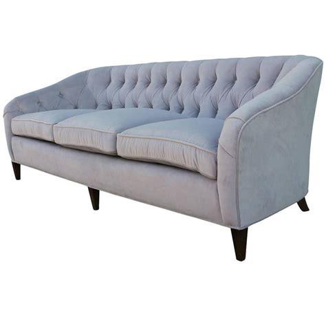 glamorous tufted baker sofa in dove grey velvet mohair for