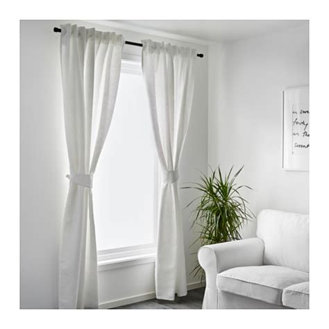 white tie back curtains blekviva curtains with tie backs 1 pair white 145x250 cm