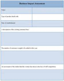 assessment template for business impact sle of