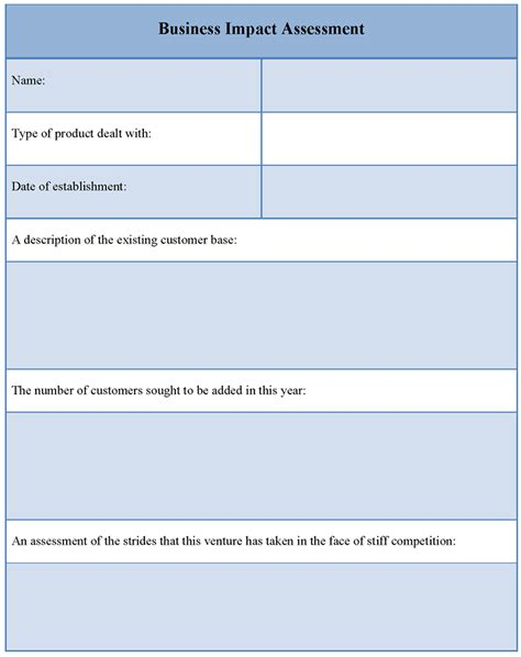 business impact template assessment template for business impact sle of