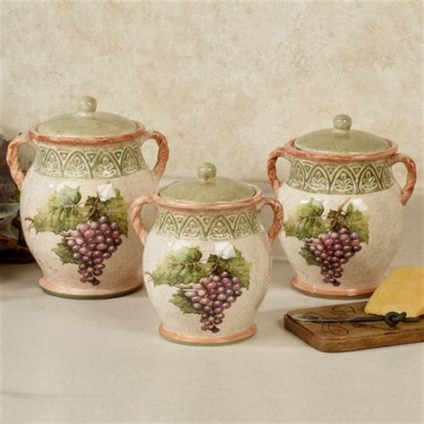 wine kitchen canisters sanctuary wine grapes kitchen canister set