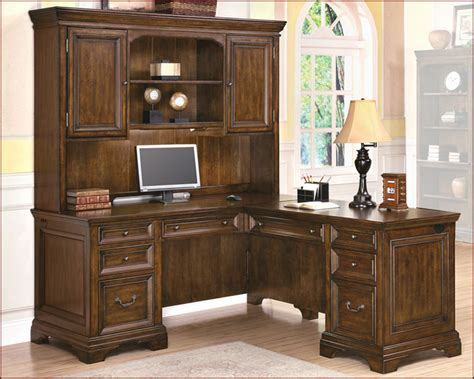 Office Desks With Hutch by Traditional Cherry Office Executive L Desk With Hutch Ebay