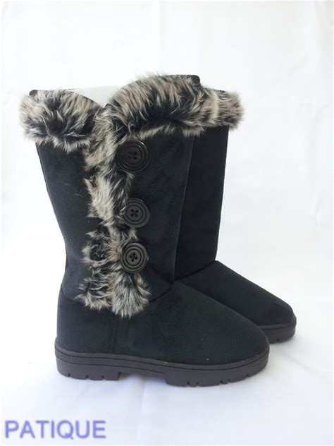 snow boots with fur buttons fashion fleece faux fur winter snow boots