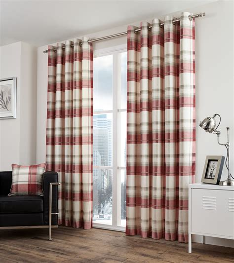 beige plaid curtains plaid check red beige lined 100 cotton ring top curtains