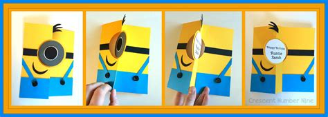 minion greeting card template half fold birthday cards printable