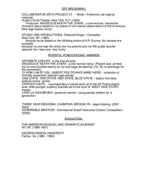 comedy resume 2013 revised