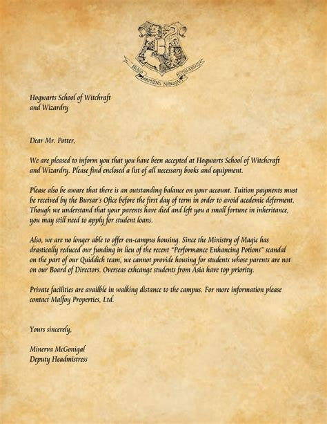 Harry Potter Acceptance Letter Card Harry Potters Acceptance Letter