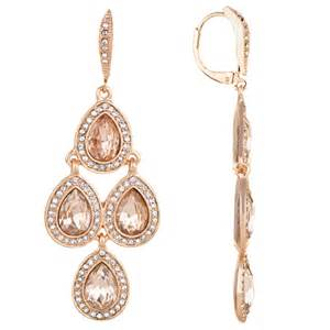 gold chandelier earring akara s goldtone pink rhinestone chandelier earrings