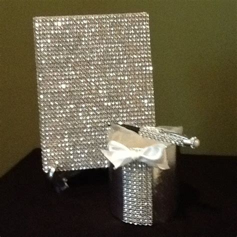 rhinestone wedding guest book bling wedding guestbook set wedding guest book