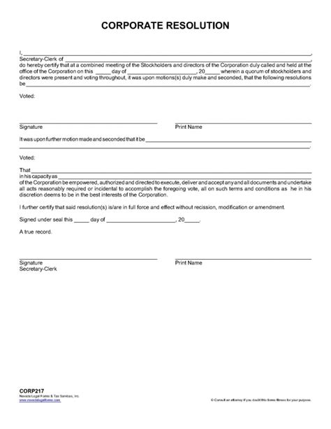 llc resolution template corporate resolution nevada forms tax services inc