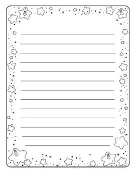 printable lined paper with star border writing paper with star border by doshi designs tpt