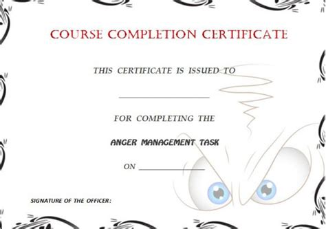anger management certificate template certificate of completion template 55 word templates