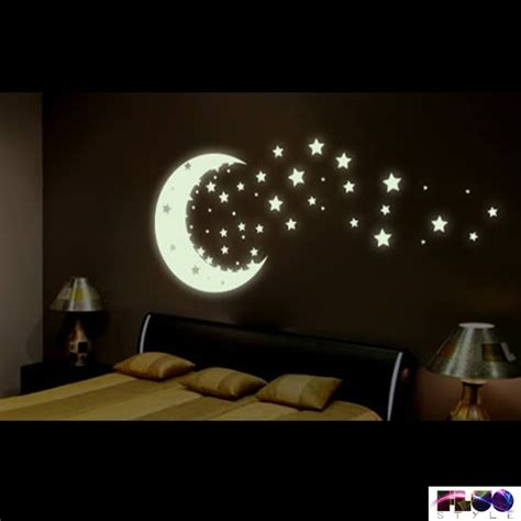 Glow Wall Stickers fluorescent phosphorescent glow in the dark stars and moon