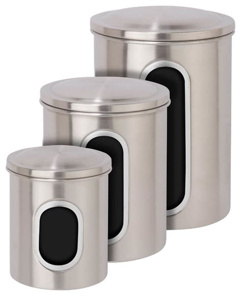 contemporary kitchen canister sets metal storage canisters stainless steel set of 3