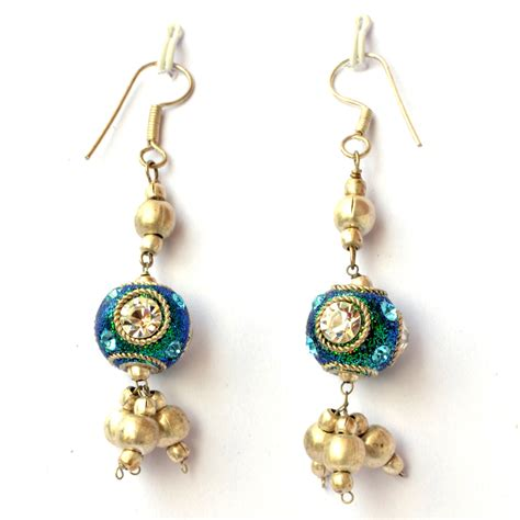 Handmade Earrings With - handmade earrings teal glitter with