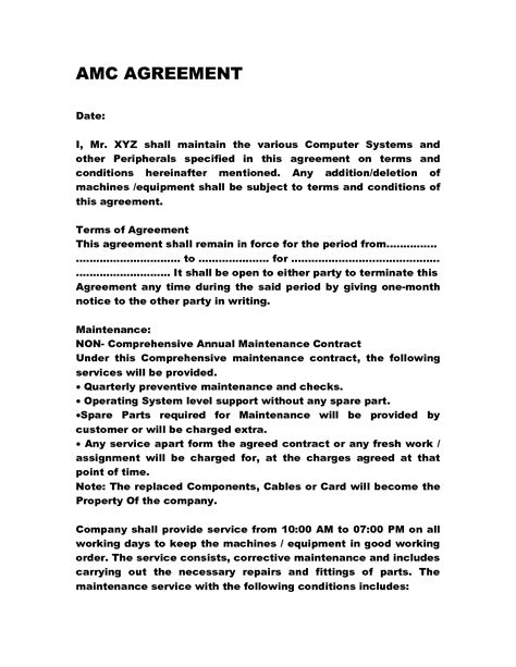 Annual Maintenance Contract Letter Format Sle Annual Maintenance Contract Doc By Anks13 Computer Maintenance Contract Everything