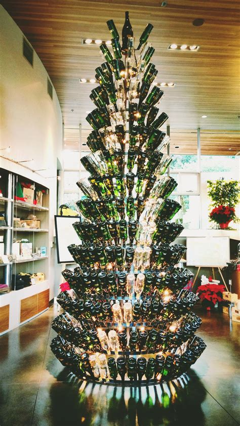 tree made of wine bottles tree made of empty wine bottles at twomey cellar