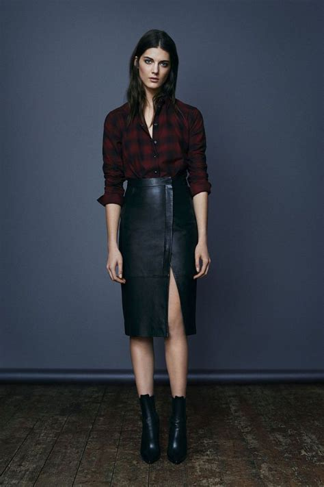 all saints leather skirt boots and checked shirt great